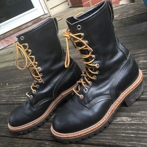Redwing Tall Lace-up Black Combat Boots W9
